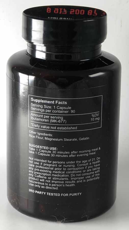 Смотреть состав на пузырьке Ibutamoren MK-677 Cratus Labs